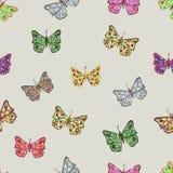 Wektorowy bezszwowy wzór z pięknymi motylami royalty ilustracja
