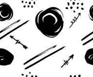 Wektorowy bezszwowy wzór z różnymi strzałami na bielu, linia, okręgi, czarni Ręki muśnięcie rysujący wektor royalty ilustracja