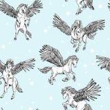 Wektorowy bezszwowy wzór biały oskrzydlony Pegasus ilustracji