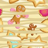 Wektorowy bezszwowy wzór ciastka w postaci choinek, gwiazd i piernikowych mężczyzna, ilustracja wektor