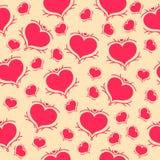 Wektorowy bezszwowy wzór czerwoni serca na żółtym tle Zdjęcie Stock