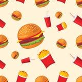 Wektorowy bezszwowy wzór dłoniaki, koka-kola i hamburger, Śliczny fast food Obraz Royalty Free