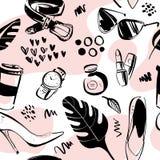 Wektorowy bezszwowy wzór dla mody i zakupy tematu z kobietami akcesorium, elementy odizolowywający - but, pachnidło, pasek, zegar royalty ilustracja