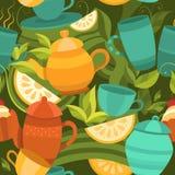 Wektorowy bezszwowy wzór herbata Zdjęcia Royalty Free