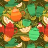Wektorowy bezszwowy wzór herbata Fotografia Royalty Free