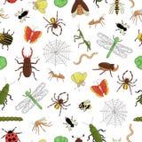 Wektorowy bezszwowy wzór kolorowi insekty Powtarza tło z odosobnioną jaskrawą pszczołą, mamrocze pszczoły, pluskwa, komarn royalty ilustracja