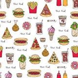 Wektorowy bezszwowy wzór na temacie fast food Zdjęcie Royalty Free