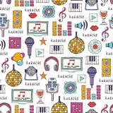 Wektorowy bezszwowy wzór na temacie karaoke Obraz Royalty Free
