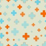 Wektorowy bezszwowy wzór plus znaki Rozrzuceni i przypadkowo sklejeni kolorowi kształty Obrazy Stock