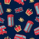 Wektorowy bezszwowy wzór pociągany ręcznie Londyńscy symbole Zdjęcie Royalty Free