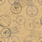 Wektorowy Bezszwowy wzór Pocztowi znaczki ilustracji