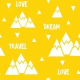 Wektorowy bezszwowy wzór robić góry, słowa i trójboki, Fotografia Royalty Free