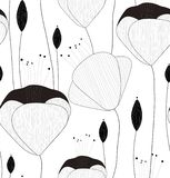 Wektorowy bezszwowy wzór, tekstura, druk z ręką rysującą kwitnie i pączkuje na białym tle ilustracji