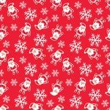 Wektorowy bezszwowy wzór twarze z kapeluszami, wąsy i brodami Santa, Różnorodnych doodles Santa projekta Bożenarodzeniowi element ilustracji