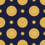 Wektorowy bezszwowy wzór w rocznika stylu Księżyc i słońce na ciemnym tle Fotografia Royalty Free