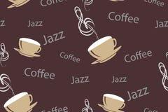 Wektorowy bezszwowy wzór w roczniku lub retro kawa stylu Filiżanki z muzykalnym treble clef, słowami jazzy dalej i kawą, Obraz Stock