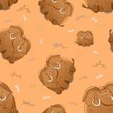 Wektorowy bezszwowy wzór z ślicznej kreskówki grubym mamutem i kościami zabawne zwierz?t G?ste pocieszne bestie Tekstura na beżow ilustracja wektor