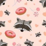 Wektorowy bezszwowy wzór z ślicznym szop pracz, donuts i lizakami na różowym tle, wektor Zdjęcie Royalty Free