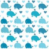 Wektorowy bezszwowy wzór z ślicznymi błękitnymi wielorybami Zdjęcie Royalty Free