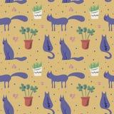 Wektorowy bezszwowy wzór z ślicznymi kotami w miękkim kolorze ilustracja wektor