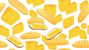 Wektorowy bezszwowy wzór z śniadaniowym jedzeniem: chleb, masło, ser i kanapki, ilustracja wektor
