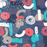 Wektorowy bezszwowy wzór z abstraktem kształtuje i gryzmoli Kreatywnie tekstury Plamy farba, atrament artystyczna tło ilustracji