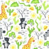 Wektorowy bezszwowy wzór z afrykańskimi zwierzętami Obrazy Royalty Free