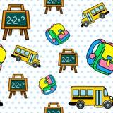 Wektorowy bezszwowy wzór z autobusem szkolnym, chalkboard i backbag, Obrazy Royalty Free
