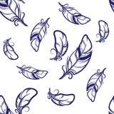 Wektorowy bezszwowy wzór z błękitem upierza na białym tle Zdjęcia Royalty Free