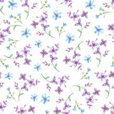 Wektorowy bezszwowy wzór z błękitnymi akwarela kwiatami ilustracja wektor