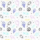 Wektorowy bezszwowy wzór z balonami i różnymi cukierkami royalty ilustracja