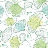 Wektorowy bezszwowy wzór z biloba liśćmi, kleks w pastelu i zieleniejemy na białym tle ilustracji