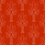 Wektorowy bezszwowy wzór z crayfishes lub homarów sylwetką w białym kolorze na czerwonym tle Ilustracja Wektor