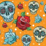 Wektorowy bezszwowy wzór z cukrową czaszką z różami Zdjęcia Stock