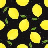 Wektorowy bezszwowy wzór z cytrynami na czarnym tle Zdjęcia Stock