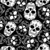 Wektorowy bezszwowy wzór z czaszkami Zdjęcia Stock