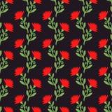 Wektorowy bezszwowy wzór z czerwienią kwitnie na zmroku szczegółowy rysunek kwiecisty pochodzenie wektora Zdjęcia Royalty Free
