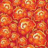 Wektorowy bezszwowy wzór z czerwonymi maczków kwiatami Zdjęcie Stock