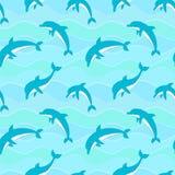 Wektorowy bezszwowy wzór z delfinami Obrazy Royalty Free