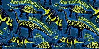 Wektorowy bezszwowy wzór z dinosaurami royalty ilustracja