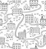 Wektorowy bezszwowy wzór z domami i drzewami royalty ilustracja