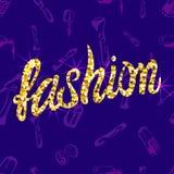 Wektorowy BEZSZWOWY wzór z doodle kosmetycznymi produktami z listami: ` mody `, purpura Zdjęcie Royalty Free