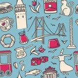 Wektorowy bezszwowy wzór z doodle symbolami tureccy symbole i Istanbuł punkty zwrotni na błękitnym tle royalty ilustracja