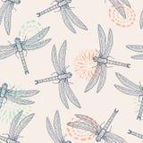 Wektorowy bezszwowy wzór z dragonfly Obrazy Stock
