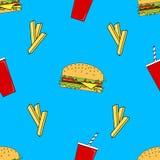 Wektorowy bezszwowy wzór z fastem food ilustracji