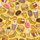 Wektorowy bezszwowy wzór z fastem food Zabawa i jaskrawy kolorowy tło royalty ilustracja