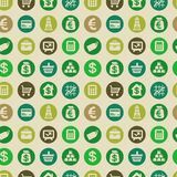 Wektorowy bezszwowy wzór z finansowymi ikonami Fotografia Royalty Free