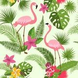 Wektorowy bezszwowy wzór z flamingiem, tropikalnymi kwiatami i drzewkiem palmowym, Lato hawajczyka tło royalty ilustracja