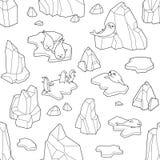Wektorowy Bezszwowy wzór z górą lodową, fokami, pingwinami i lodowymi floes, ilustracja wektor