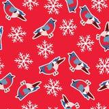 Wektorowy bezszwowy wzór z gilami na czerwonym tle z płatkami śniegu Obraz Royalty Free